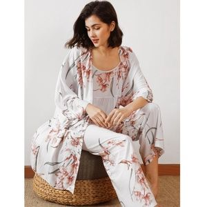 3 Piece Multicolor Pastel Floral Print Pajama Set
